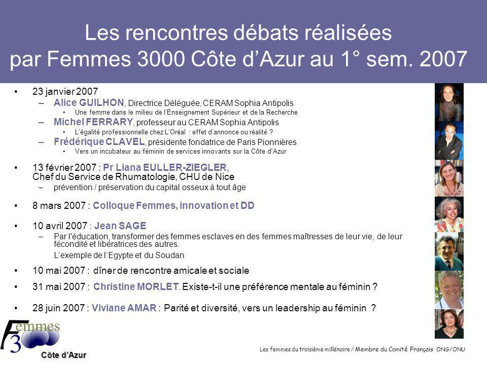 Les femmes du troisième millénaire / Membre du Comité Français ONG/ONU Côte d'Azur Les rencontres débats réalisées par Femmes 3000 Côte d'Azur au 1° sem.