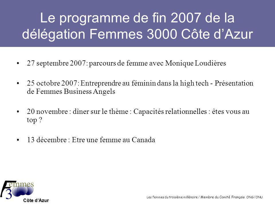 Les femmes du troisième millénaire / Membre du Comité Français ONG/ONU Côte d'Azur Nos rendez-vous 2008 15 janvier 2008 : Femmes, science et technologie 7 février 2008 : Les réseaux de Femmes dans les entreprises 6 mars 2008 : Salon FemmAgora.