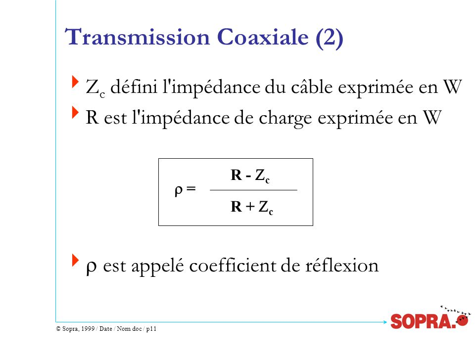 © Sopra, 1999 / Date / Nom doc / p11 Transmission Coaxiale (2)  Z c défini l impédance du câble exprimée en W  R est l impédance de charge exprimée en W   est appelé coefficient de réflexion  = R -  c R +  c