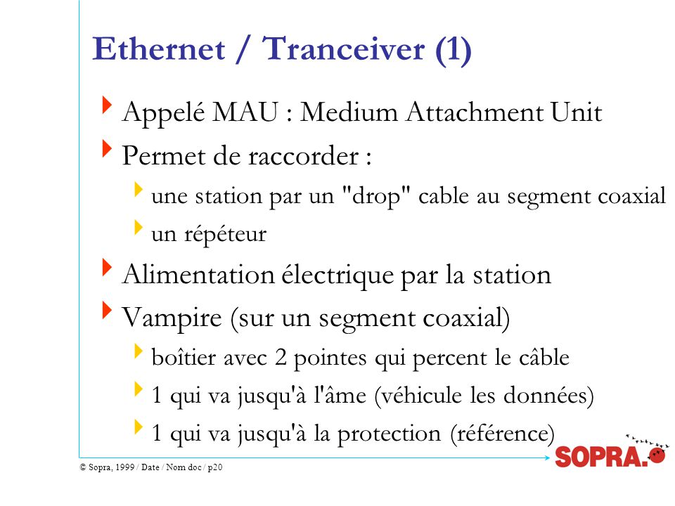 © Sopra, 1999 / Date / Nom doc / p20 Ethernet / Tranceiver (1)  Appelé MAU : Medium Attachment Unit  Permet de raccorder :  une station par un