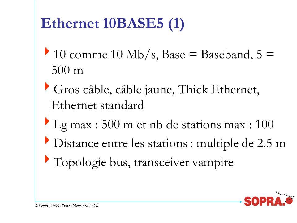 © Sopra, 1999 / Date / Nom doc / p24 Ethernet 10BASE5 (1)  10 comme 10 Mb/s, Base = Baseband, 5 = 500 m  Gros câble, câble jaune, Thick Ethernet, Ethernet standard  Lg max : 500 m et nb de stations max : 100  Distance entre les stations : multiple de 2.5 m  Topologie bus, transceiver vampire