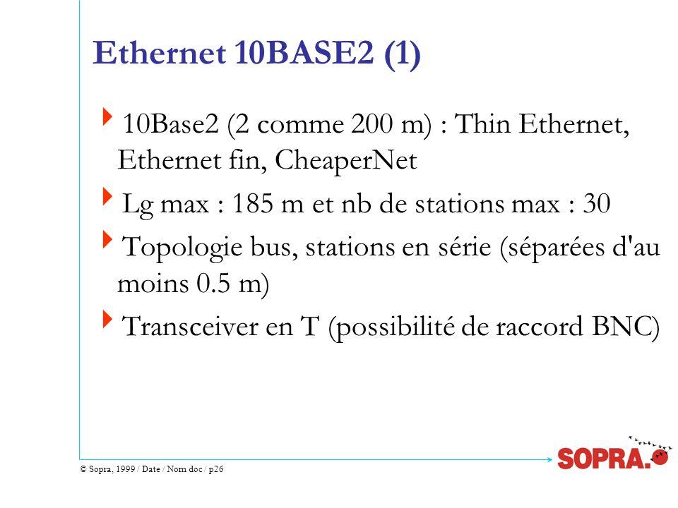 © Sopra, 1999 / Date / Nom doc / p26 Ethernet 10BASE2 (1)  10Base2 (2 comme 200 m) : Thin Ethernet, Ethernet fin, CheaperNet  Lg max : 185 m et nb de stations max : 30  Topologie bus, stations en série (séparées d au moins 0.5 m)  Transceiver en T (possibilité de raccord BNC)