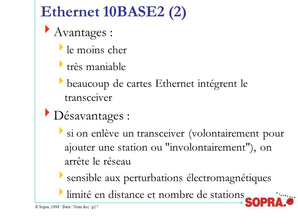 © Sopra, 1999 / Date / Nom doc / p27 Ethernet 10BASE2 (2)  Avantages :  le moins cher  très maniable  beaucoup de cartes Ethernet intégrent le transceiver  Désavantages :  si on enlève un transceiver (volontairement pour ajouter une station ou involontairement ), on arrête le réseau  sensible aux perturbations électromagnétiques  limité en distance et nombre de stations