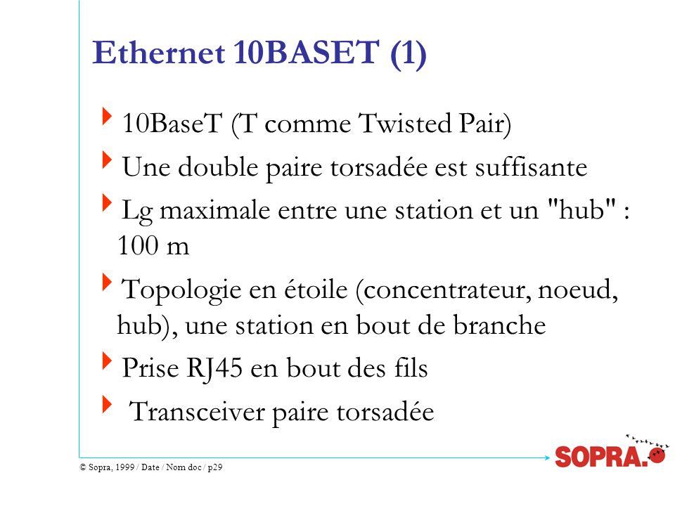 © Sopra, 1999 / Date / Nom doc / p29 Ethernet 10BASET (1)  10BaseT (T comme Twisted Pair)  Une double paire torsadée est suffisante  Lg maximale entre une station et un hub : 100 m  Topologie en étoile (concentrateur, noeud, hub), une station en bout de branche  Prise RJ45 en bout des fils  Transceiver paire torsadée