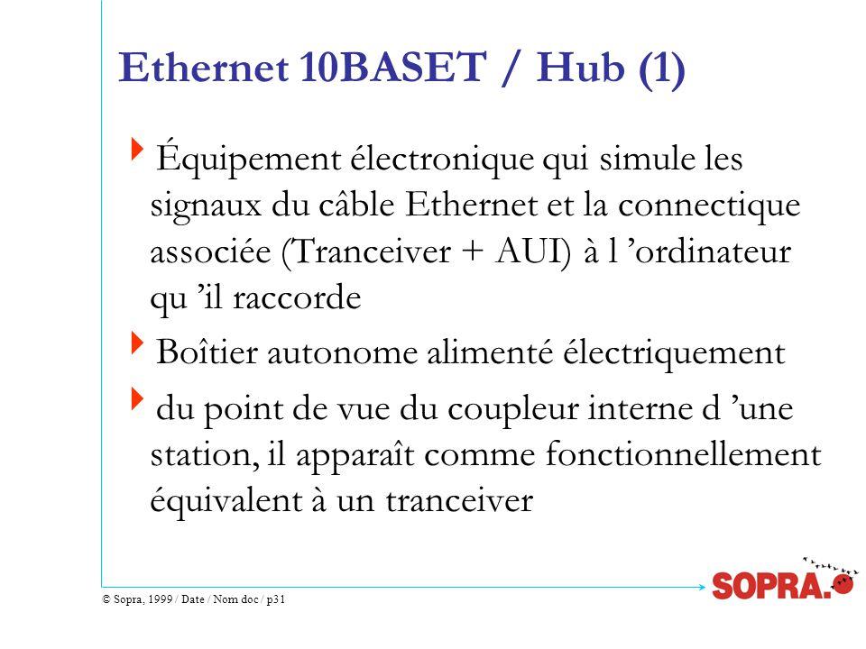 © Sopra, 1999 / Date / Nom doc / p31 Ethernet 10BASET / Hub (1)  Équipement électronique qui simule les signaux du câble Ethernet et la connectique associée (Tranceiver + AUI) à l 'ordinateur qu 'il raccorde  Boîtier autonome alimenté électriquement  du point de vue du coupleur interne d 'une station, il apparaît comme fonctionnellement équivalent à un tranceiver