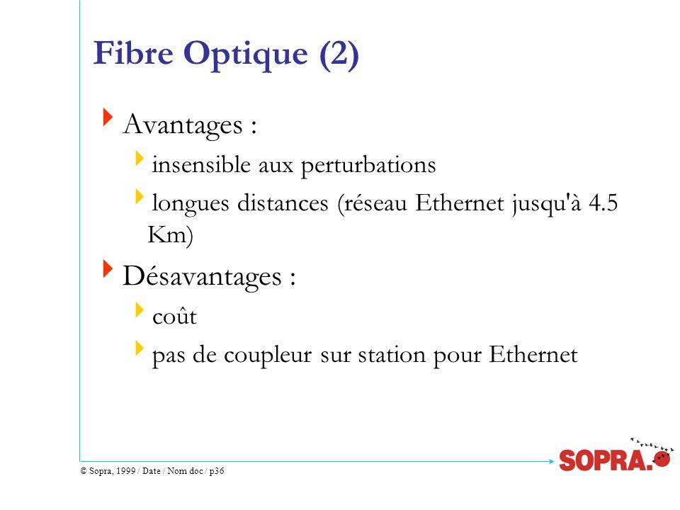 © Sopra, 1999 / Date / Nom doc / p36 Fibre Optique (2)  Avantages :  insensible aux perturbations  longues distances (réseau Ethernet jusqu à 4.5 Km)  Désavantages :  coût  pas de coupleur sur station pour Ethernet
