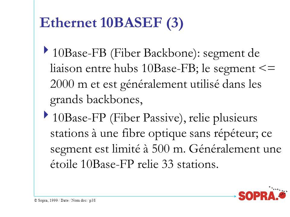 © Sopra, 1999 / Date / Nom doc / p38 Ethernet 10BASEF (3)  10Base-FB (Fiber Backbone): segment de liaison entre hubs 10Base-FB; le segment <= 2000 m et est généralement utilisé dans les grands backbones,  10Base-FP (Fiber Passive), relie plusieurs stations à une fibre optique sans répéteur; ce segment est limité à 500 m.