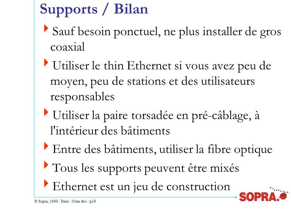 © Sopra, 1999 / Date / Nom doc / p39 Supports / Bilan  Sauf besoin ponctuel, ne plus installer de gros coaxial  Utiliser le thin Ethernet si vous avez peu de moyen, peu de stations et des utilisateurs responsables  Utiliser la paire torsadée en pré-câblage, à l intérieur des bâtiments  Entre des bâtiments, utiliser la fibre optique  Tous les supports peuvent être mixés  Ethernet est un jeu de construction