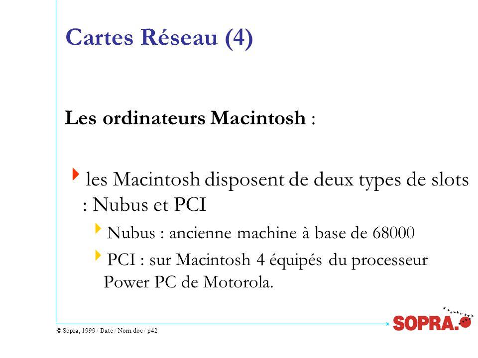 © Sopra, 1999 / Date / Nom doc / p42 Cartes Réseau (4) Les ordinateurs Macintosh :  les Macintosh disposent de deux types de slots : Nubus et PCI  Nubus : ancienne machine à base de 68000  PCI : sur Macintosh 4 équipés du processeur Power PC de Motorola.