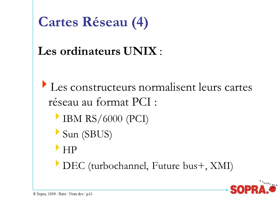 © Sopra, 1999 / Date / Nom doc / p43 Cartes Réseau (4) Les ordinateurs UNIX :  Les constructeurs normalisent leurs cartes réseau au format PCI :  IBM RS/6000 (PCI)  Sun (SBUS)  HP  DEC (turbochannel, Future bus+, XMI)