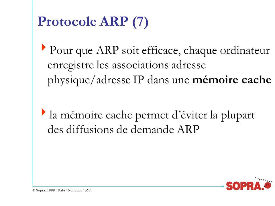 © Sopra, 1999 / Date / Nom doc / p52 Protocole ARP (7)  Pour que ARP soit efficace, chaque ordinateur enregistre les associations adresse physique/adresse IP dans une mémoire cache  la mémoire cache permet d'éviter la plupart des diffusions de demande ARP