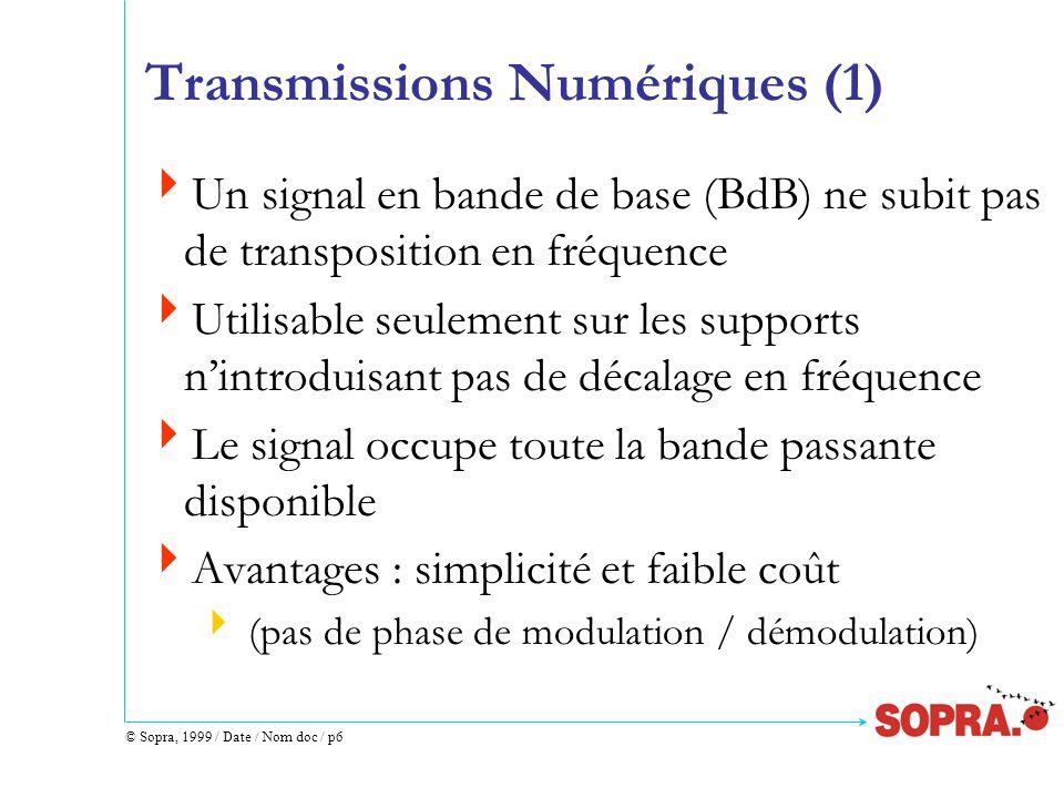 © Sopra, 1999 / Date / Nom doc / p6 Transmissions Numériques (1)  Un signal en bande de base (BdB) ne subit pas de transposition en fréquence  Utilisable seulement sur les supports n'introduisant pas de décalage en fréquence  Le signal occupe toute la bande passante disponible  Avantages : simplicité et faible coût  (pas de phase de modulation / démodulation)