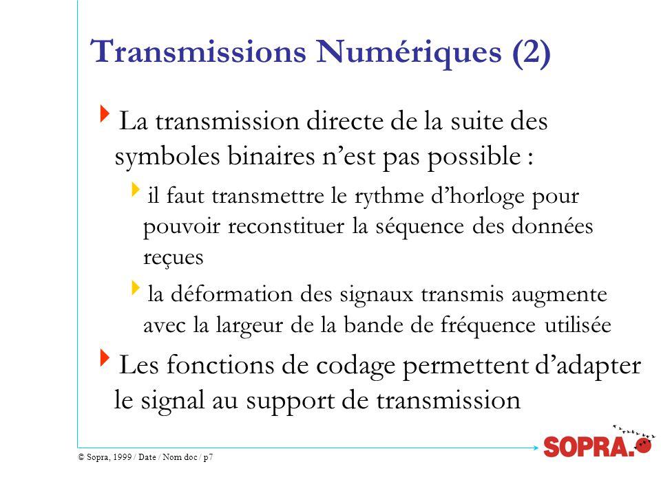 © Sopra, 1999 / Date / Nom doc / p18 Ethernet / Segment (1)  Délai de propagation de trame<21.65 bit times  Longueur < 500 m (conséquence du délai de propagation et atténuation)  100 transceivers max / segment  Problème de réflexion :  à chaque extrémité du segment : une terminaison (bouchon)  câble marqué par un cercle tous les 2,5 m  plusieurs sections de câble coaxial :  reliées par des connecteurs qui peuvent introduire une réflexion du signal.