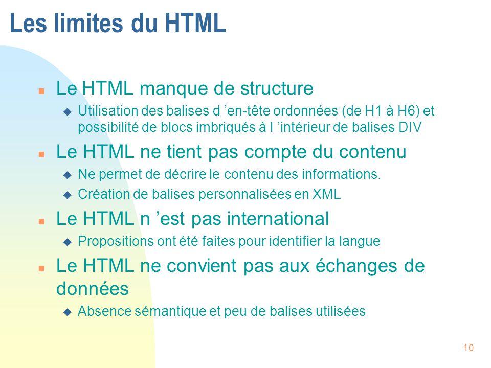 10 Les limites du HTML n Le HTML manque de structure u Utilisation des balises d 'en-tête ordonnées (de H1 à H6) et possibilité de blocs imbriqués à l