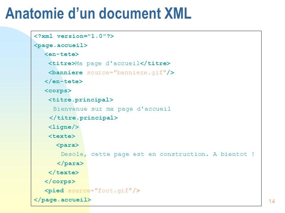14 Anatomie d'un document XML Ma page d'accueil Bienvenue sur ma page d'accueil Desole, cette page est en construction. A bientot !