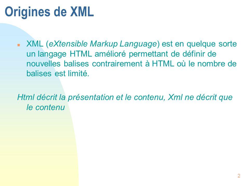 2 Origines de XML n XML (eXtensible Markup Language) est en quelque sorte un langage HTML amélioré permettant de définir de nouvelles balises contrair