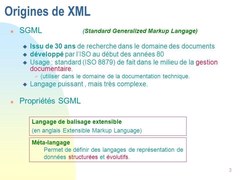 3 Origines de XML n SGML (Standard Generalized Markup Langage) u Issu de 30 ans de recherche dans le domaine des documents u développé par l'ISO au dé