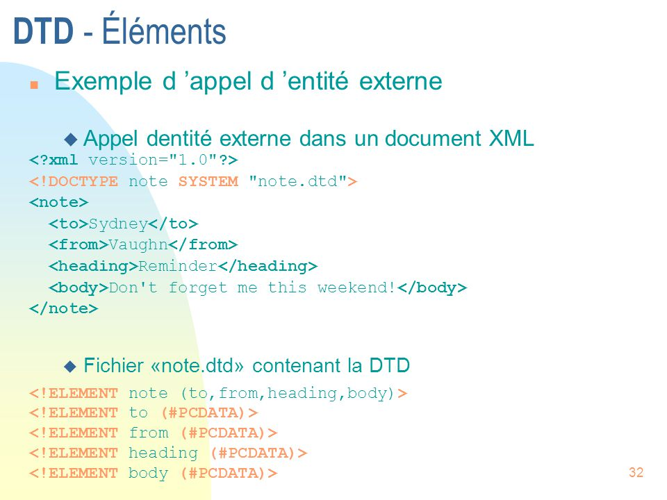 32 DTD - Éléments n Exemple d 'appel d 'entité externe  Appel dentité externe dans un document XML Sydney Vaughn Reminder Don't forget me this weeken