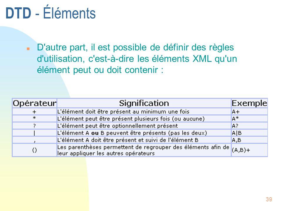 39 DTD - Éléments n D'autre part, il est possible de définir des règles d'utilisation, c'est-à-dire les éléments XML qu'un élément peut ou doit conten