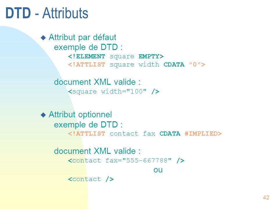 42 DTD - Attributs u Attribut par défaut exemple de DTD : document XML valide : u Attribut optionnel exemple de DTD : document XML valide : ou