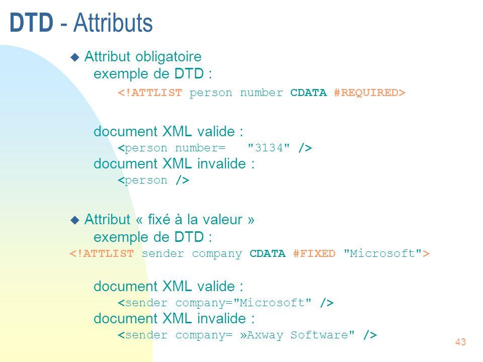 43 DTD - Attributs u Attribut obligatoire exemple de DTD : document XML valide : document XML invalide : u Attribut « fixé à la valeur » exemple de DT