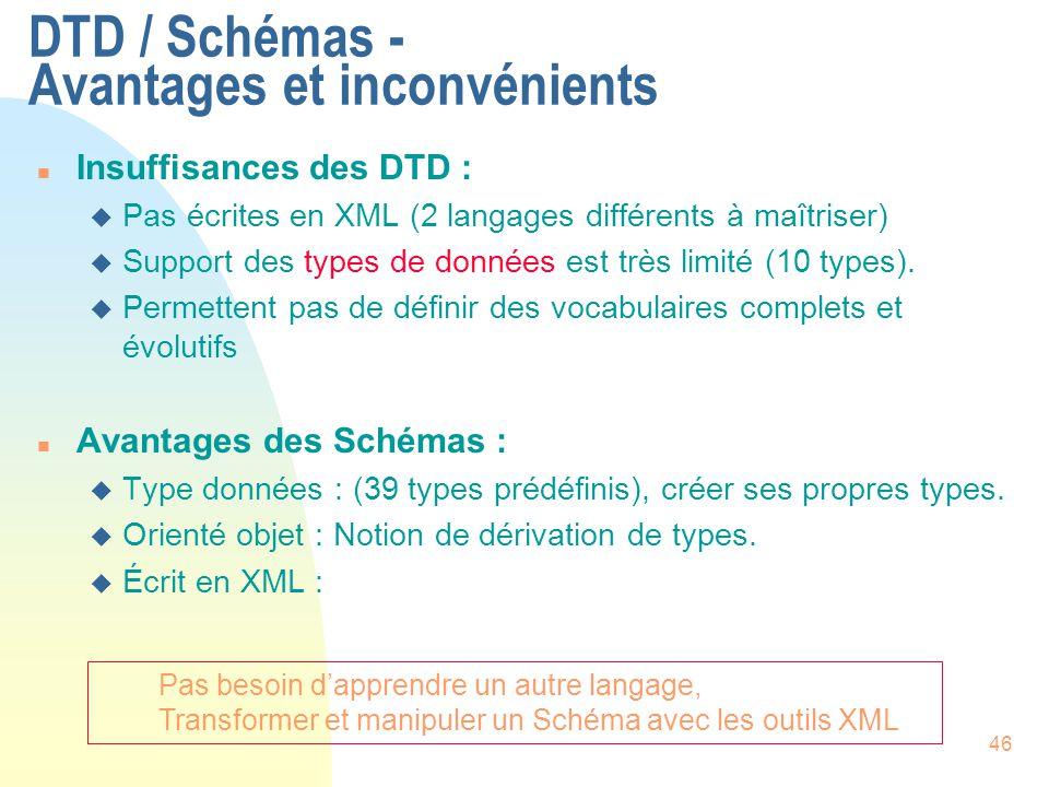 46 DTD / Schémas - Avantages et inconvénients n Insuffisances des DTD : u Pas écrites en XML (2 langages différents à maîtriser) u Support des types d