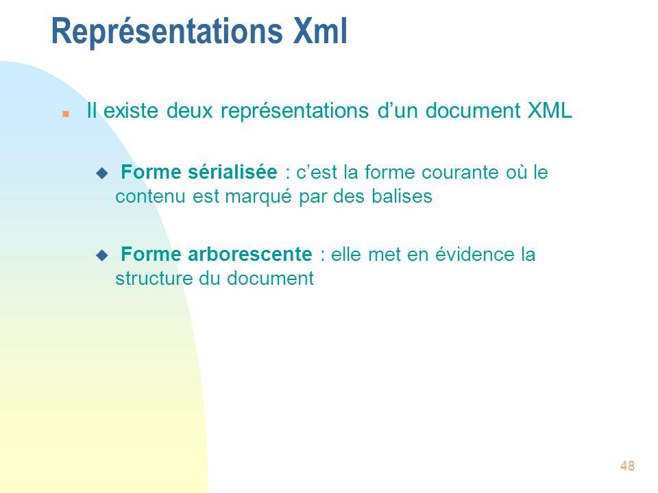 48 Représentations Xml n Il existe deux représentations d'un document XML u Forme sérialisée : c'est la forme courante où le contenu est marqué par de
