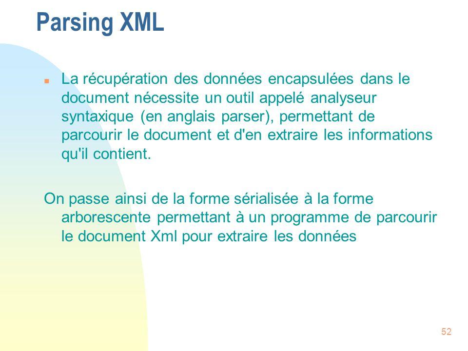 52 Parsing XML n La récupération des données encapsulées dans le document nécessite un outil appelé analyseur syntaxique (en anglais parser), permetta