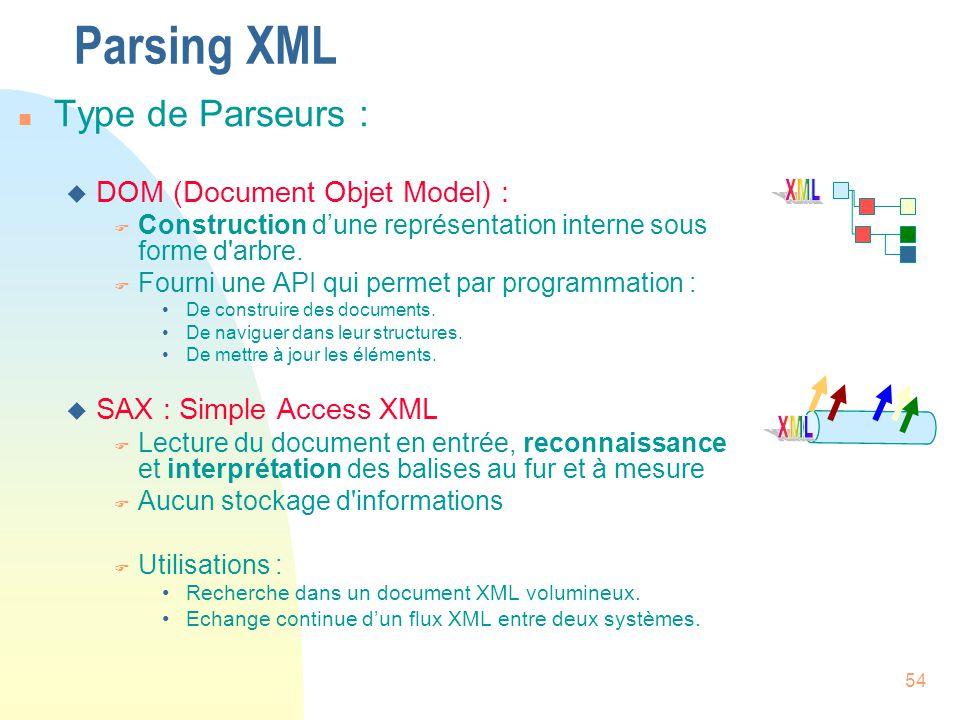 54 Parsing XML n Type de Parseurs : u DOM (Document Objet Model) : F Construction d'une représentation interne sous forme d'arbre. F Fourni une API qu