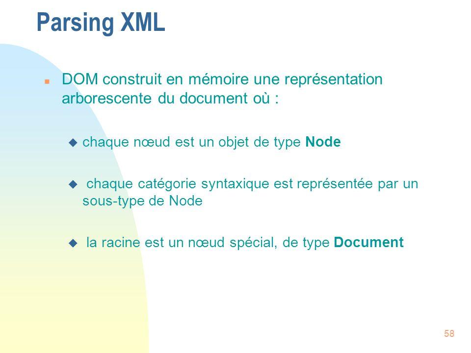 58 Parsing XML n DOM construit en mémoire une représentation arborescente du document où : u chaque nœud est un objet de type Node u chaque catégorie