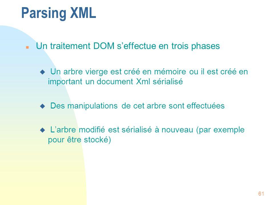 61 Parsing XML n Un traitement DOM s'effectue en trois phases u Un arbre vierge est créé en mémoire ou il est créé en important un document Xml sérial