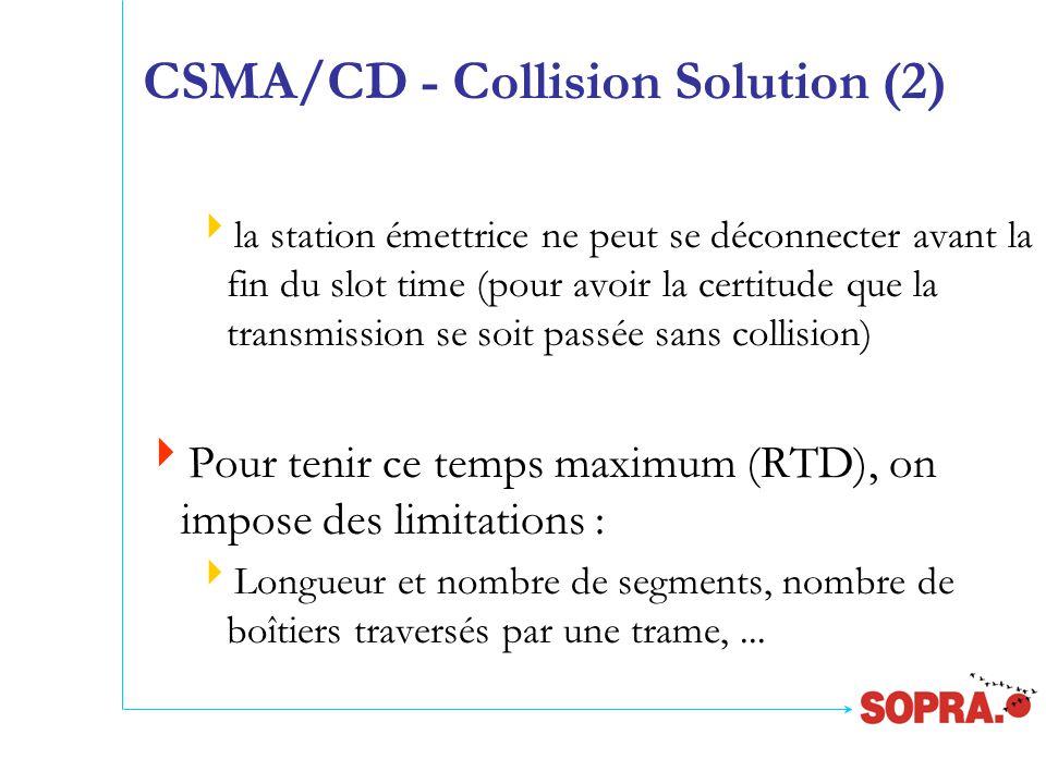 CSMA/CD - Collision Solution (2)  la station émettrice ne peut se déconnecter avant la fin du slot time (pour avoir la certitude que la transmission se soit passée sans collision)  Pour tenir ce temps maximum (RTD), on impose des limitations :  Longueur et nombre de segments, nombre de boîtiers traversés par une trame,...