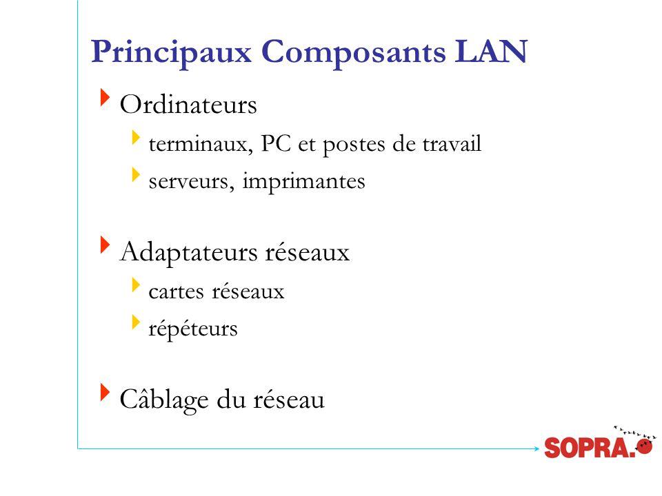 Principaux Composants LAN  Ordinateurs  terminaux, PC et postes de travail  serveurs, imprimantes  Adaptateurs réseaux  cartes réseaux  répéteurs  Câblage du réseau