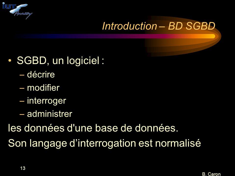 13 B. Caron Introduction – BD SGBD SGBD, un logiciel : –décrire –modifier –interroger –administrer les données d'une base de données. Son langage d'in
