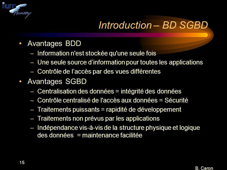 15 B. Caron Introduction – BD SGBD Avantages BDD –Information n'est stockée qu'une seule fois –Une seule source d'information pour toutes les applicat