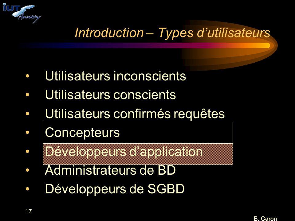 17 B. Caron Introduction – Types d'utilisateurs Utilisateurs inconscients Utilisateurs conscients Utilisateurs confirmés requêtes Concepteurs Développ