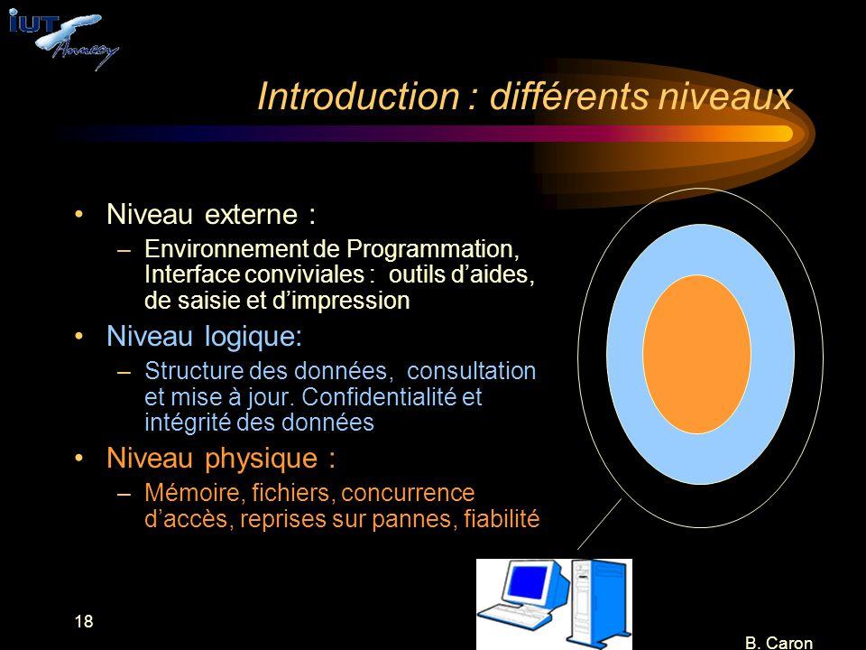 18 B. Caron Introduction : différents niveaux Niveau externe : –Environnement de Programmation, Interface conviviales : outils d'aides, de saisie et d