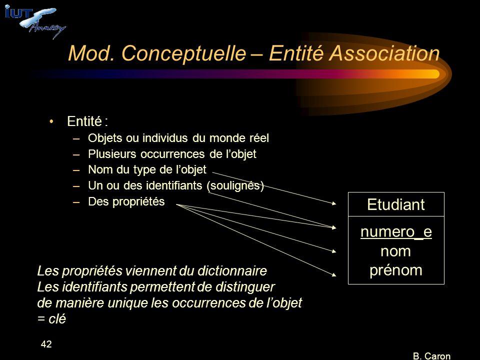 42 B. Caron Mod. Conceptuelle – Entité Association Entité : –Objets ou individus du monde réel –Plusieurs occurrences de l'objet –Nom du type de l'obj