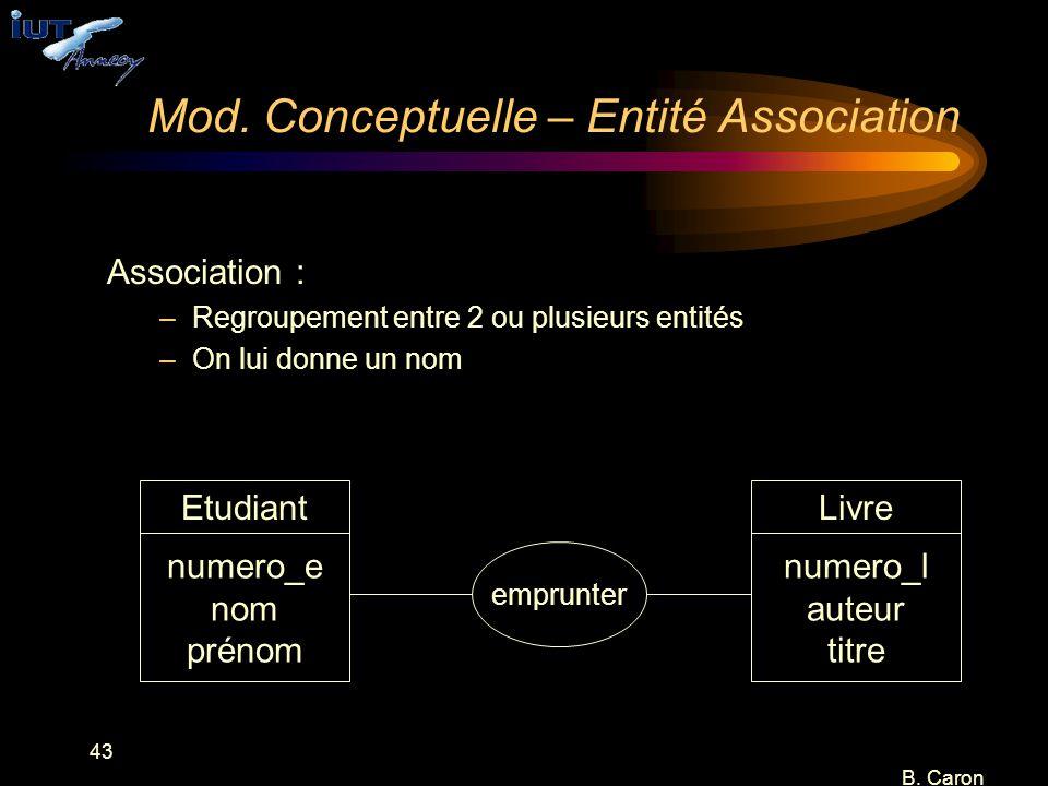 43 B. Caron Mod. Conceptuelle – Entité Association Association : –Regroupement entre 2 ou plusieurs entités –On lui donne un nom numero_e nom prénom E