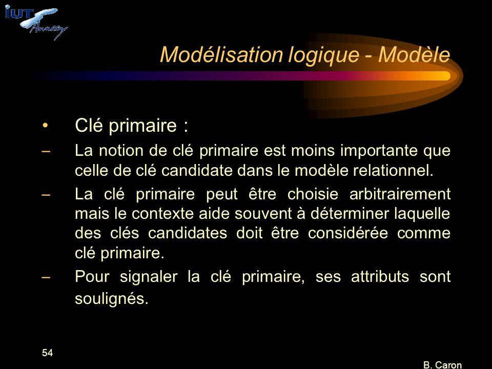 54 B. Caron Modélisation logique - Modèle Clé primaire : –La notion de clé primaire est moins importante que celle de clé candidate dans le modèle rel