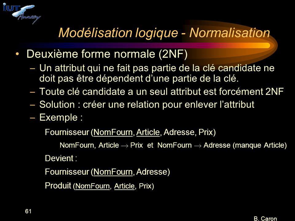 61 B. Caron Modélisation logique - Normalisation Deuxième forme normale (2NF) –Un attribut qui ne fait pas partie de la clé candidate ne doit pas être