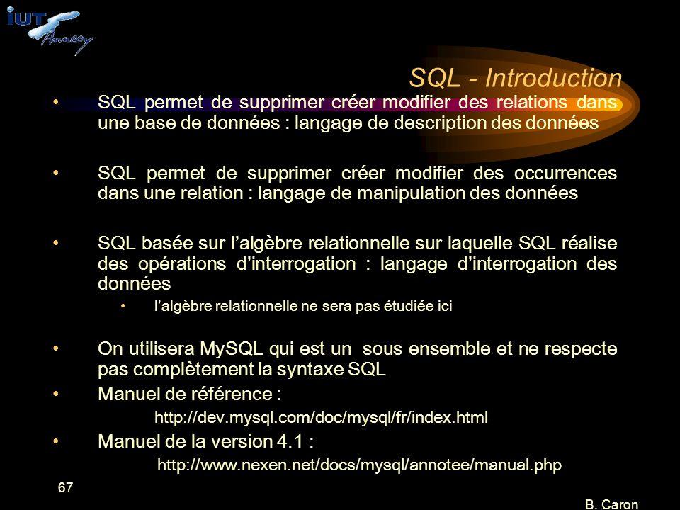 67 B. Caron SQL - Introduction SQL permet de supprimer créer modifier des relations dans une base de données : langage de description des données SQL