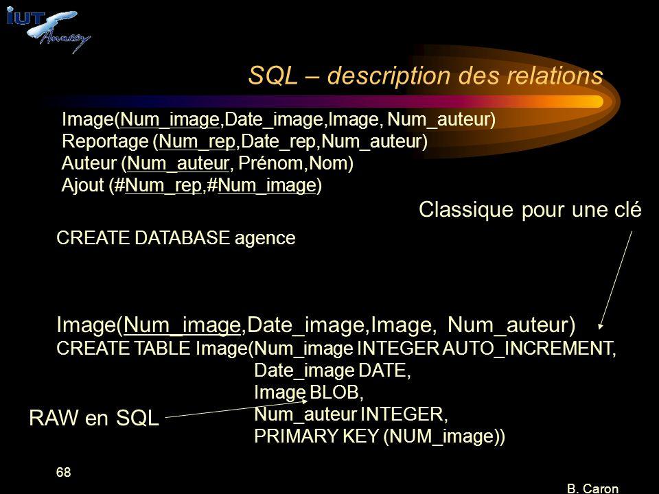 68 B. Caron SQL – description des relations Image(Num_image,Date_image,Image, Num_auteur) Reportage (Num_rep,Date_rep,Num_auteur) Auteur (Num_auteur,