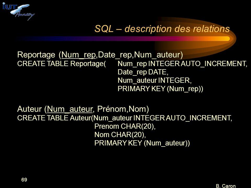 69 B. Caron SQL – description des relations Reportage (Num_rep,Date_rep,Num_auteur) CREATE TABLE Reportage(Num_rep INTEGER AUTO_INCREMENT, Date_rep DA