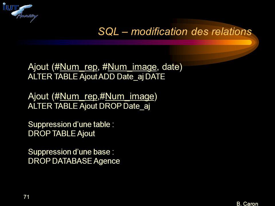 71 B. Caron SQL – modification des relations Ajout (#Num_rep, #Num_image, date) ALTER TABLE Ajout ADD Date_aj DATE Ajout (#Num_rep,#Num_image) ALTER T