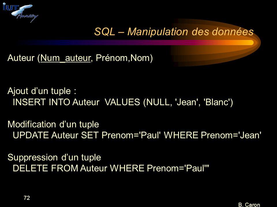 72 B. Caron SQL – Manipulation des données Auteur (Num_auteur, Prénom,Nom) Ajout d'un tuple : INSERT INTO Auteur VALUES (NULL, 'Jean', 'Blanc') Modifi