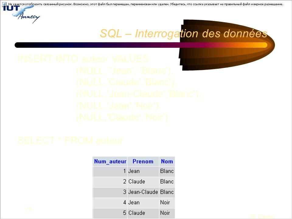 73 B. Caron SQL – Interrogation des données INSERT INTO auteur VALUES (NULL, 'Jean', 'Blanc'), (NULL,'Claude','Blanc'), (NULL,'Jean-Claude','Blanc'),