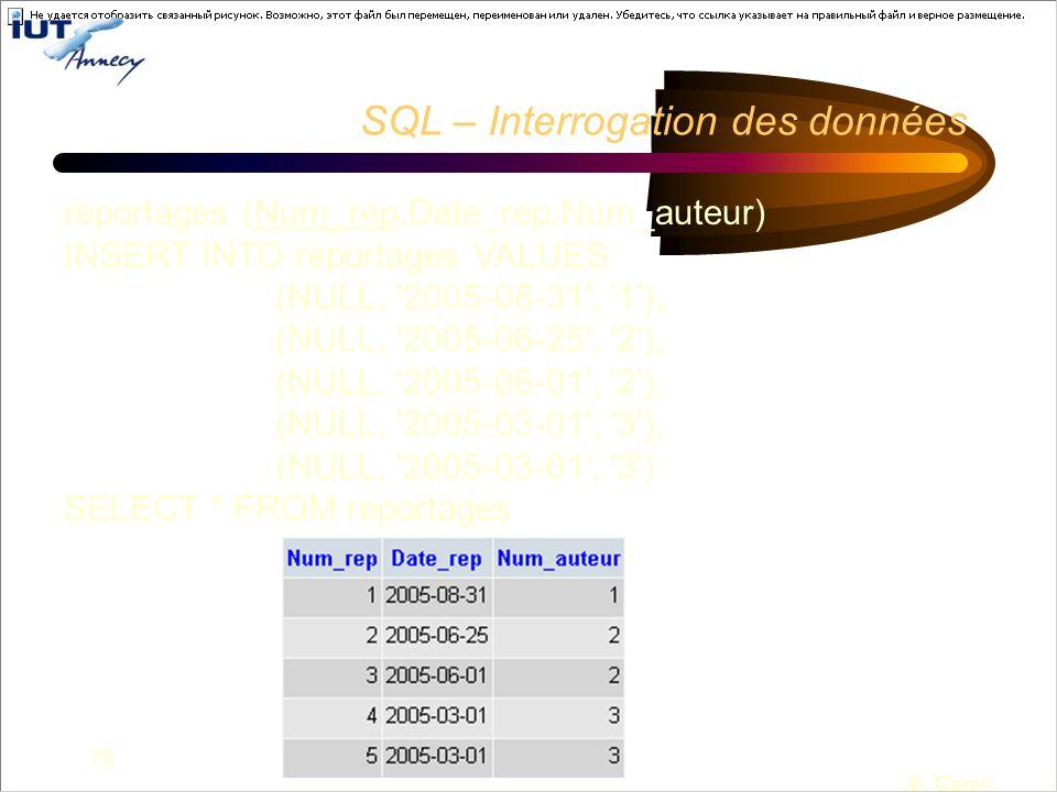 75 B. Caron SQL – Interrogation des données reportages (Num_rep,Date_rep,Num_auteur) INSERT INTO reportages VALUES (NULL, '2005-08-31', '1'), (NULL, '