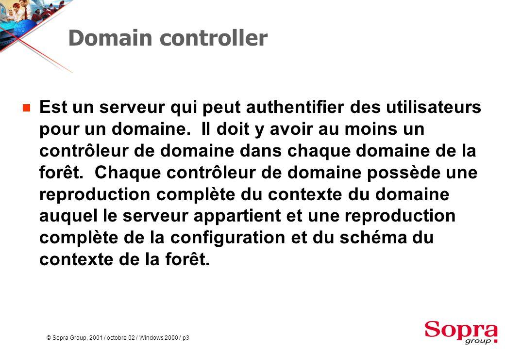 © Sopra Group, 2001 / octobre 02 / Windows 2000 / p4 Domain tree (arborescence)  Une collection de domaines qui ont un espace de noms contigu, tel que microsoft.com, dog.microsoft.com et cat.microsoft.com.