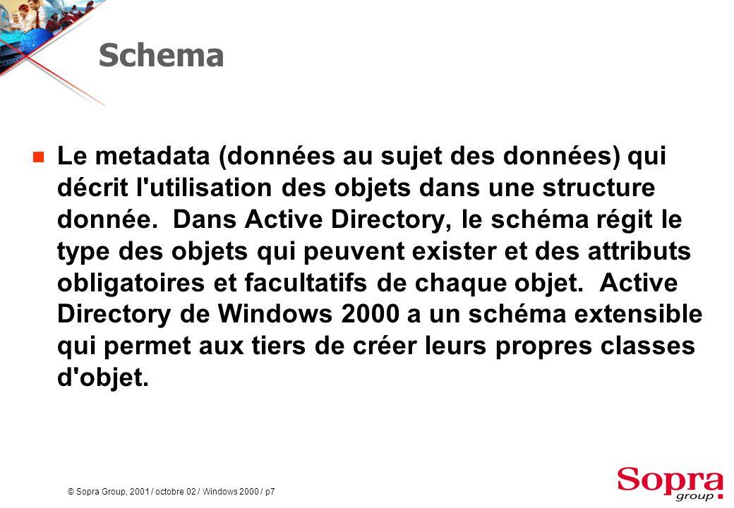 © Sopra Group, 2001 / octobre 02 / Windows 2000 / p7 Schema  Le metadata (données au sujet des données) qui décrit l utilisation des objets dans une structure donnée.